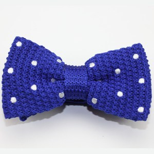 Kruwear Knitted royal blue Polka Dots Men's Bow Tie