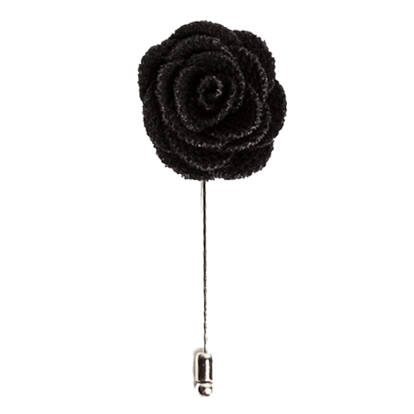 Black Rose Lapel Flower Pin