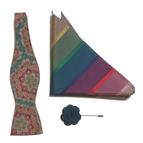 Kruwear-Koko-self-tied-bow-tie-blue-rose-flower-lapel-pin-gift-set