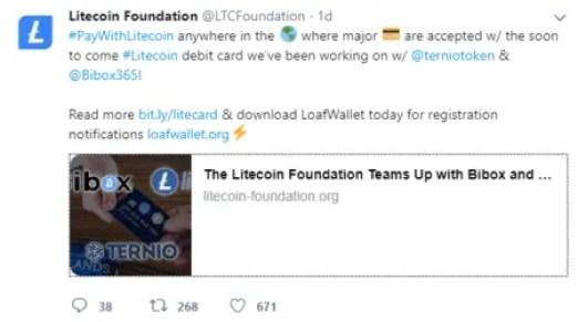 Litecoin Twitter Screenshot