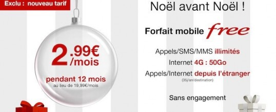 [PROLONGATION] Offre de Noël Vente Privée FREEMOBILE à 2€99