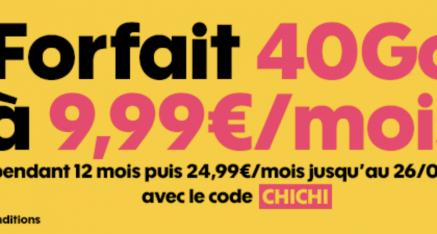 [Prolongation jusqu'au 05 Avril 2018] Forfait SOSH 40 Go à 9€99 /mois pendant 1 an