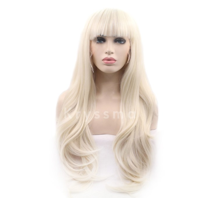 blonde synthetic lace front wig with bangs
