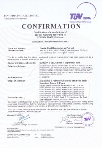 Norsok-Certificate Krystal