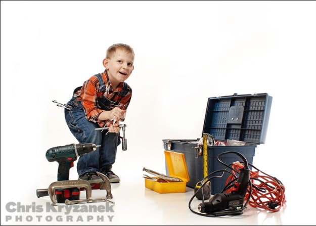 Boy with tools - keeping it real