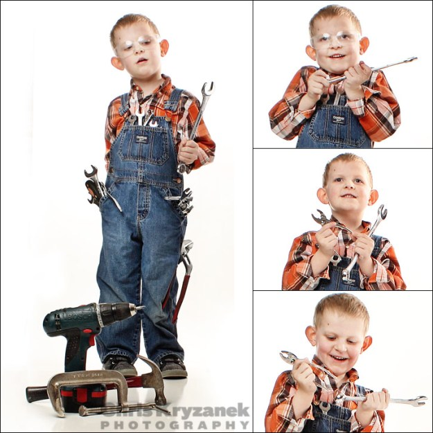 Boy with tools - keeping it real collage
