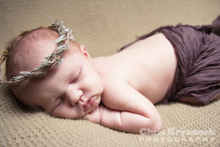 Chris Kryzanek Photography - newborn baby girl with prop