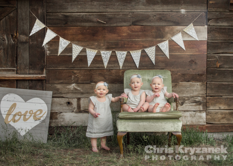 Triplets by the old barn custom photography