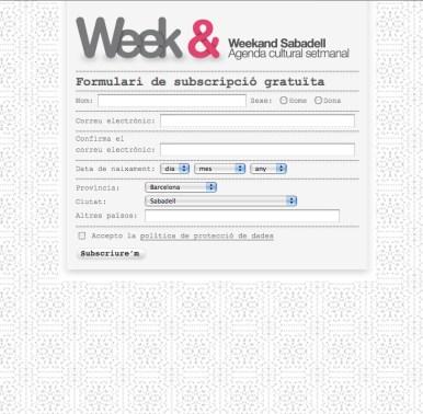 Weekand: Formulario