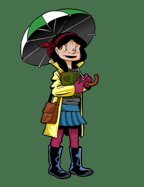 Chica con paraguas - Diseño camiseta
