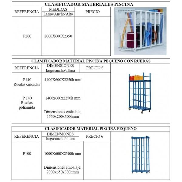 clasificador organizador materiales de piscina vestuarios bao colectividades polideportivos