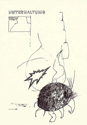 """Wolfgang Kschwendt, drawing, """"unterhaltung"""", A4, ballpoint on paper"""