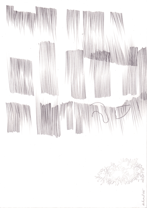"Wolfgang Kschwendt - ""Duckmusic"" - Pencil on cardboard, DIN A4, 2015"