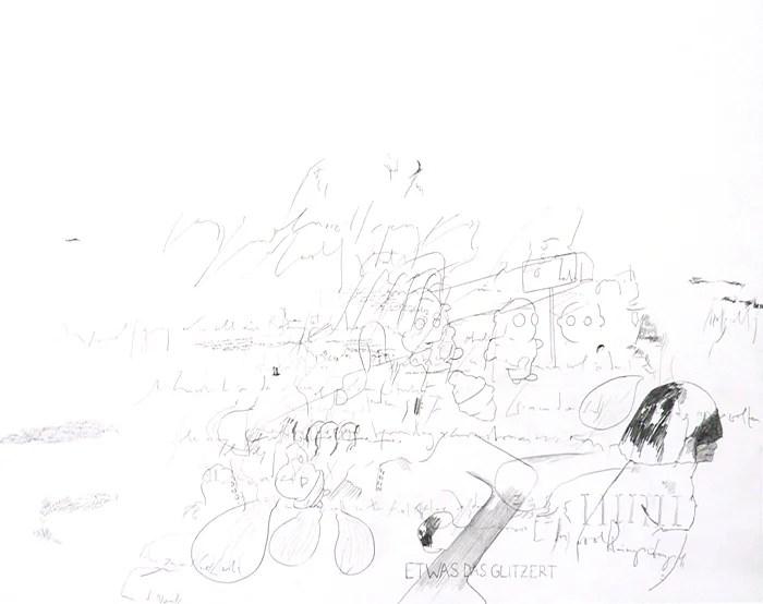 """Wolfgang Kschwendt - """"Etwas das glitzert"""" - Pencil on cardboard, 50 x 40 cm, 2015"""