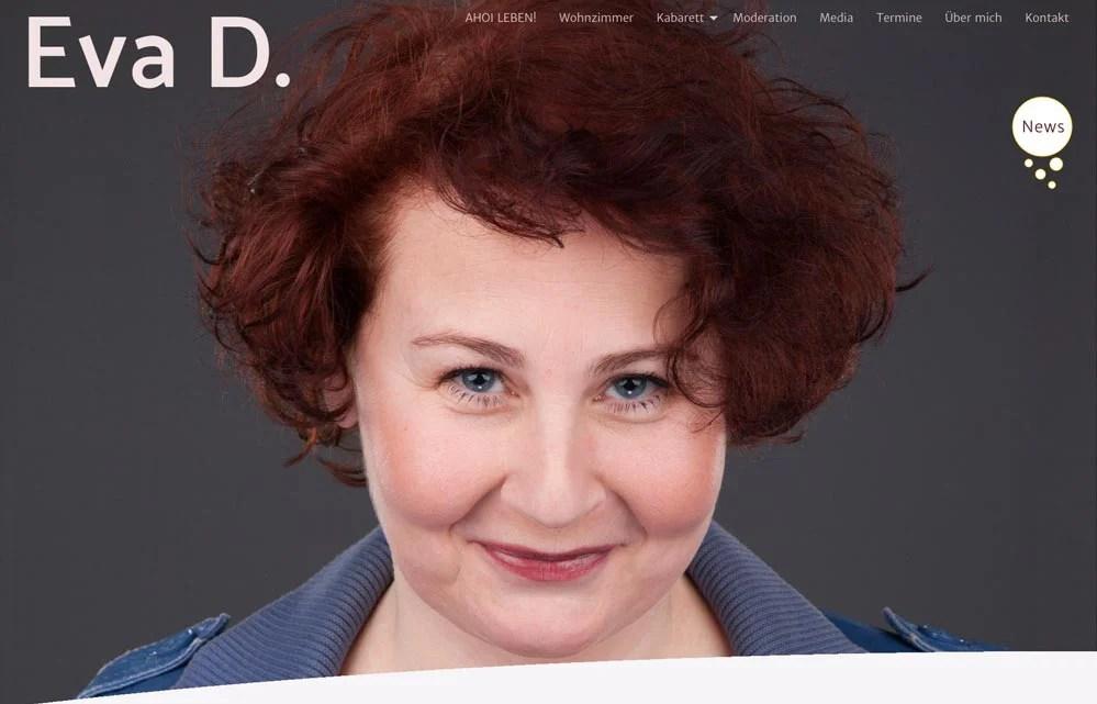 Screenshot Website Eva D. - Design and coding by Wolfgang Kschwendt - Foto John Peres