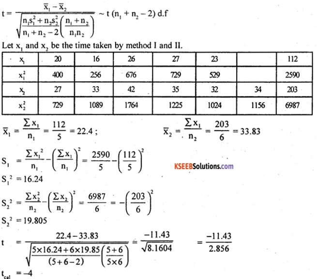 2nd PUC Statistics Model Question Paper 1 with Answers - 39