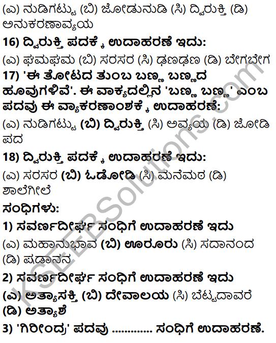 Karnataka SSLC Class 10 Tili Kannada Grammar Anvayika Vyakarana 8
