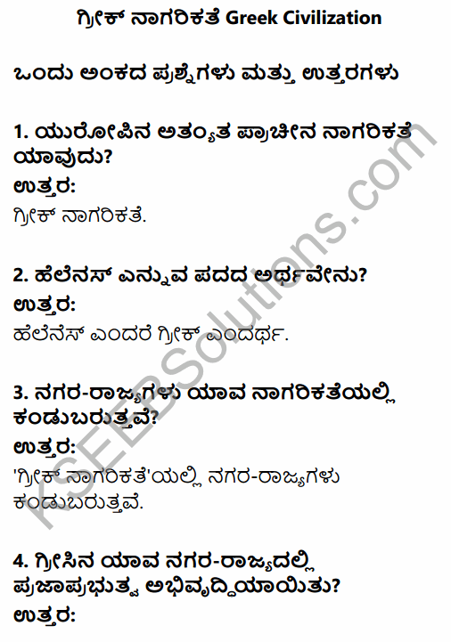 1st PUC History Question Bank Chapter 4 Establishment of Greek and Roman Empires - Contributions in Kannada 1