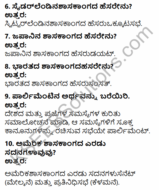 1st PUC Political Science Question Bank Chapter 6 Legislature in Kannada 2