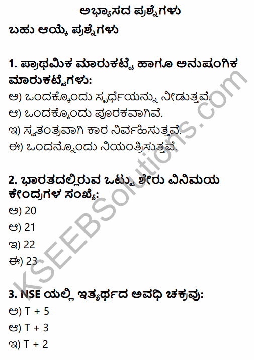 2nd PUC Business Studies Question Bank Chapter 10 Financial Market in Kannada 1