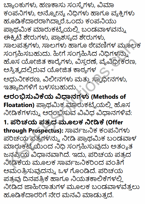 2nd PUC Business Studies Question Bank Chapter 10 Financial Market in Kannada 25