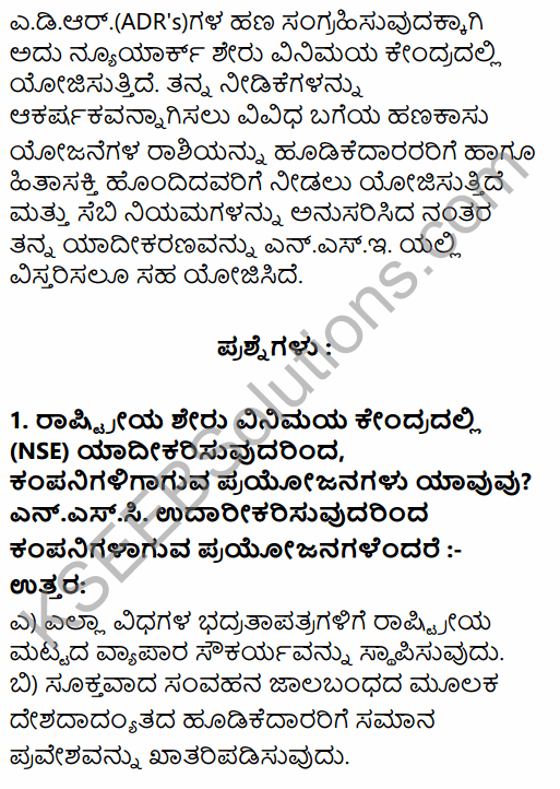 2nd PUC Business Studies Question Bank Chapter 10 Financial Market in Kannada 35