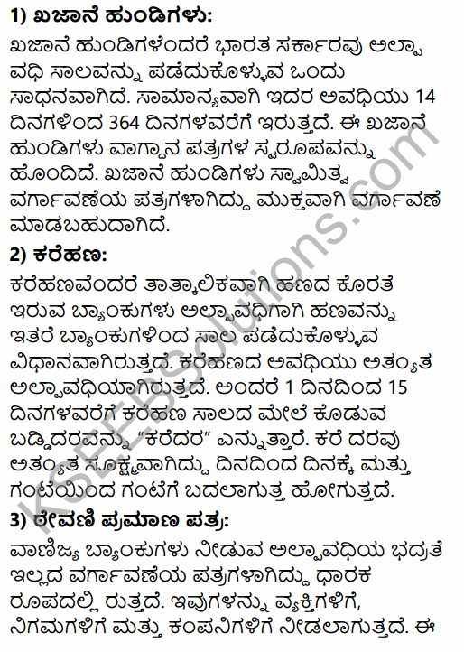 2nd PUC Business Studies Question Bank Chapter 10 Financial Market in Kannada 66