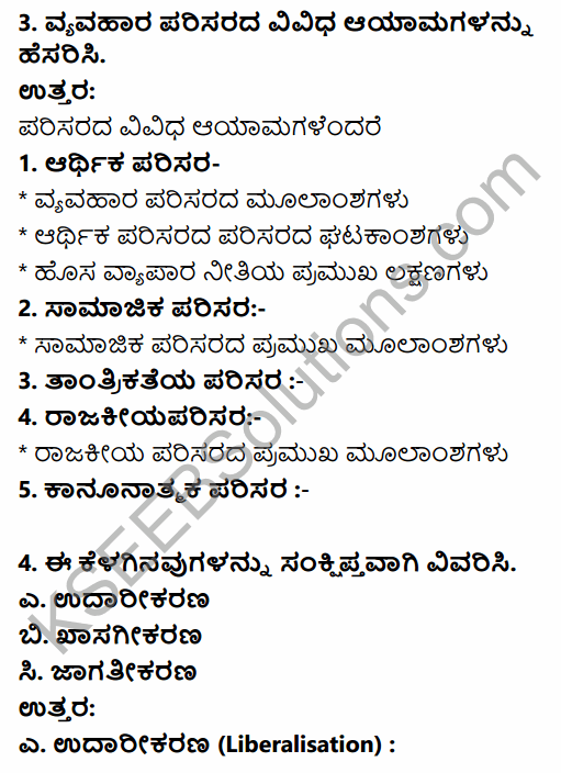 2nd PUC Business Studies Question Bank Chapter 3 Business Environment in Kannada 6
