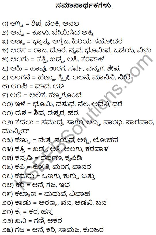 1st PUC Kannada Workbook Answers Samanarthaka Padagalu 1