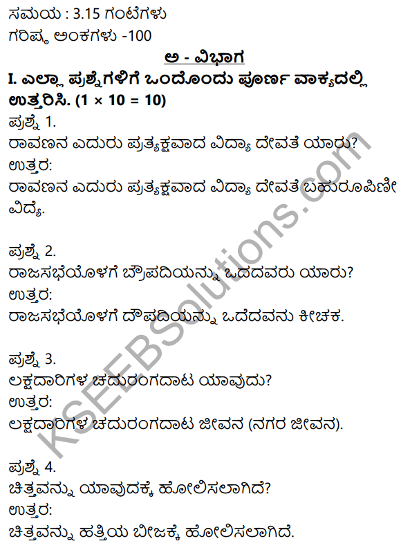 2nd PUC Kannada Previous Year Question Paper March 2015 1