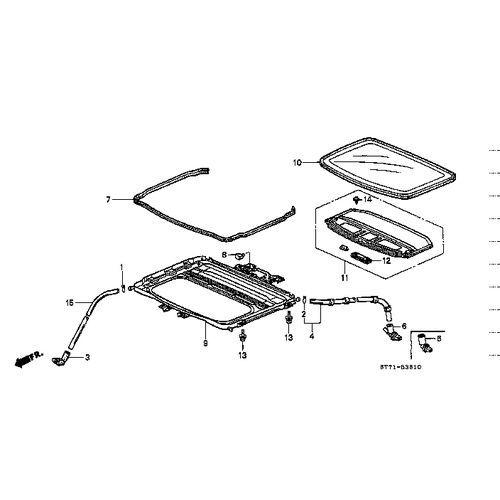 Honda 02-06 RSX Type-S OEM Sunroof Frame Seal: K Series Parts