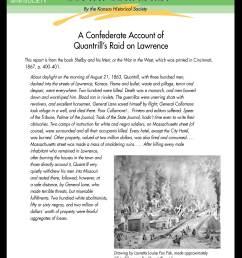 Read Kansas! Middle School - M-16 The Civil War Comes to Kansas:  Quantrill's Raid on Lawrence - Kansas Historical Society [ 3300 x 2550 Pixel ]