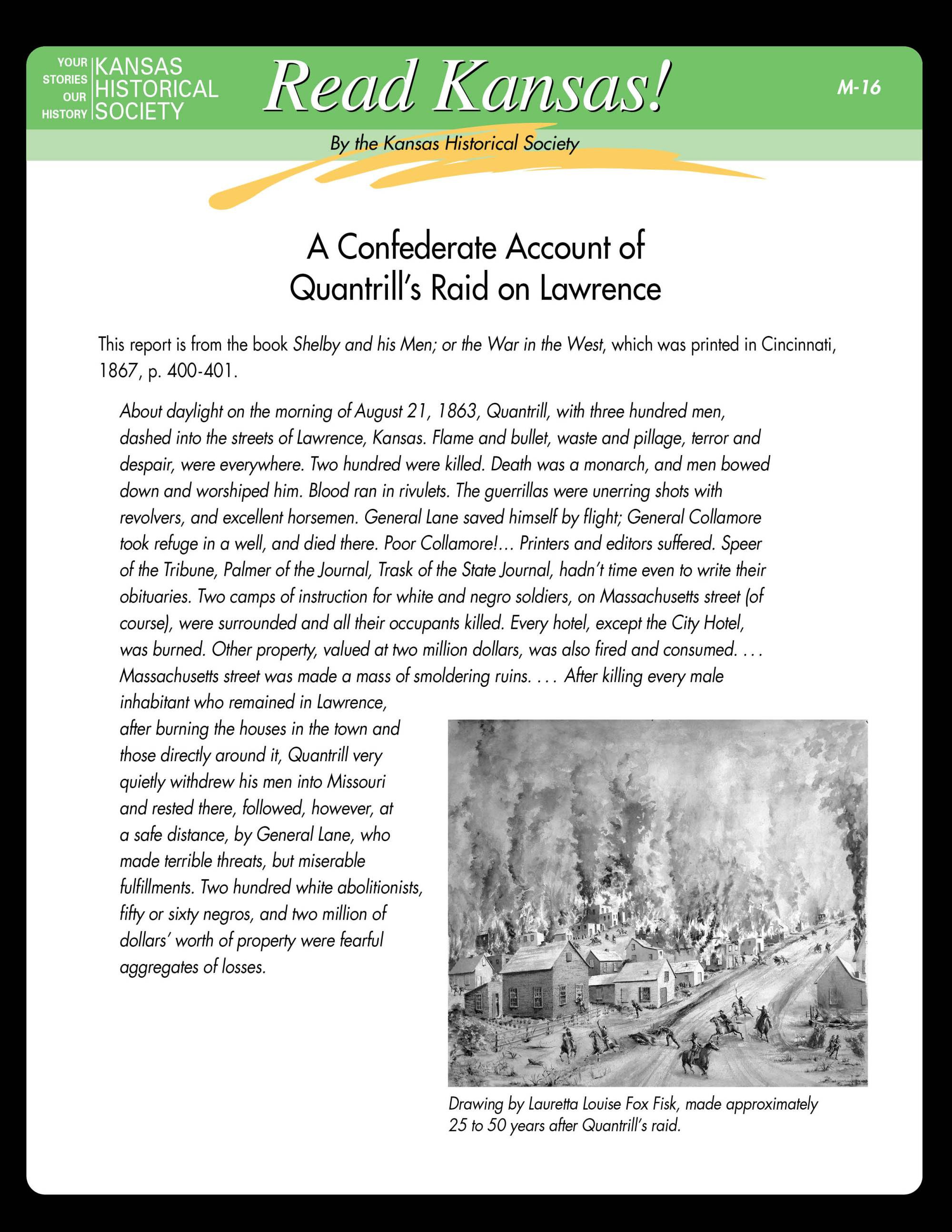hight resolution of Read Kansas! Middle School - M-16 The Civil War Comes to Kansas:  Quantrill's Raid on Lawrence - Kansas Historical Society