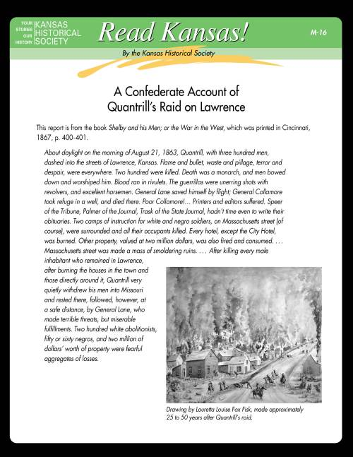 small resolution of Read Kansas! Middle School - M-16 The Civil War Comes to Kansas:  Quantrill's Raid on Lawrence - Kansas Historical Society