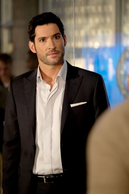"LUCIFER: Tom Ellis in the ""They???re Back, Aren???t They?"" Season Three premiere episode of LUCIFER airing Monday, Oct. 2 (8:00-9:00 PM ET/PT) on FOX. ©2017 Fox Broadcasting Co. Cr: FOX."