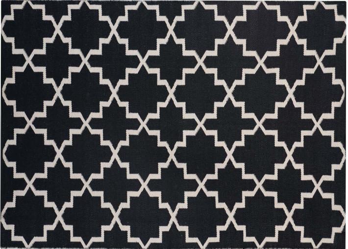 tapis design berbere noir et blanc forme losanges flava par green decore
