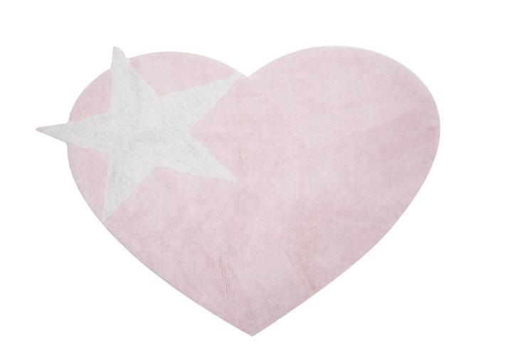 tapis enfant forme cœur et etoile rose blanc ou gris rose coton lavable en machine aratextil