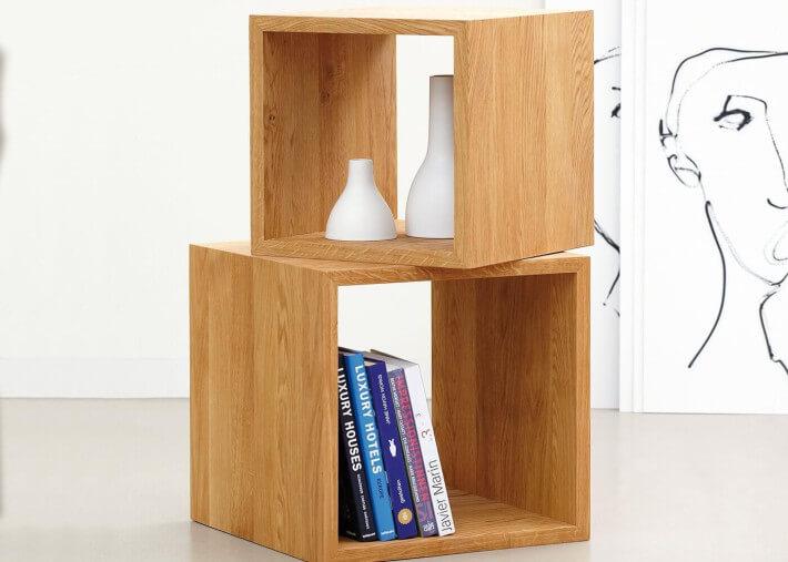 cube de rangement ouvert ou ferme en bois de chene cubus par jankurtz
