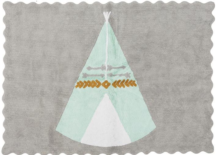 tapis original et decoratif pour enfant theme tipi indien gris rose ou gris vert en coton teepee aratextil