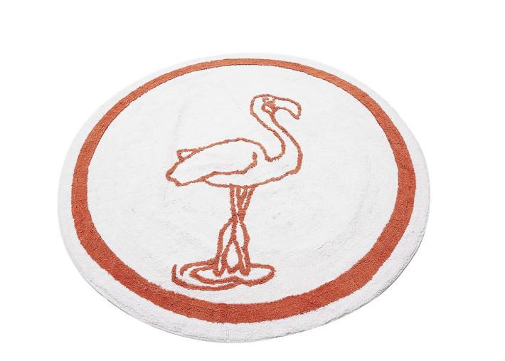 tapis enfant rond flamant rose d140 blanc orange flamingo par aratextil