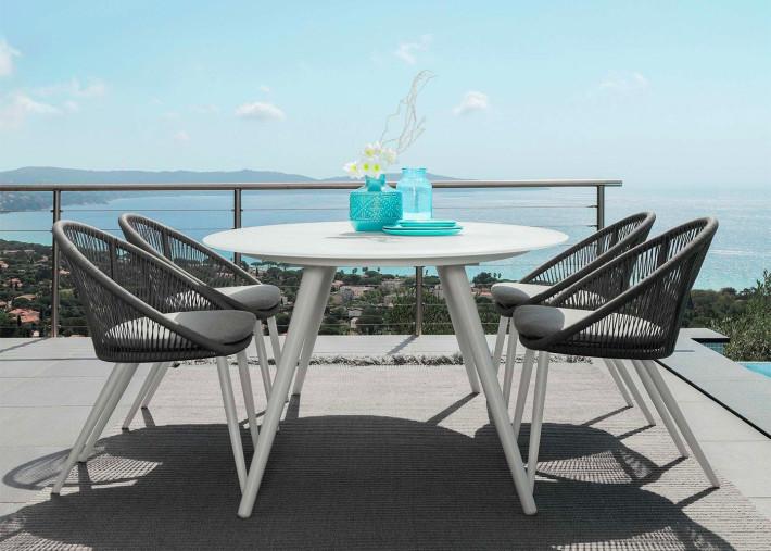 fauteuils de table d exterieur en aluminium et corde set de 4 unites rope par talenti