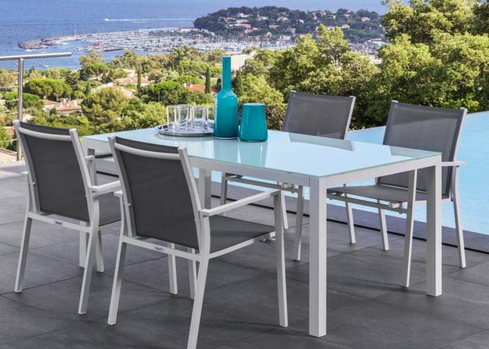table a manger en aluminium et verre trempe blanc 90x152 maiorca talenti