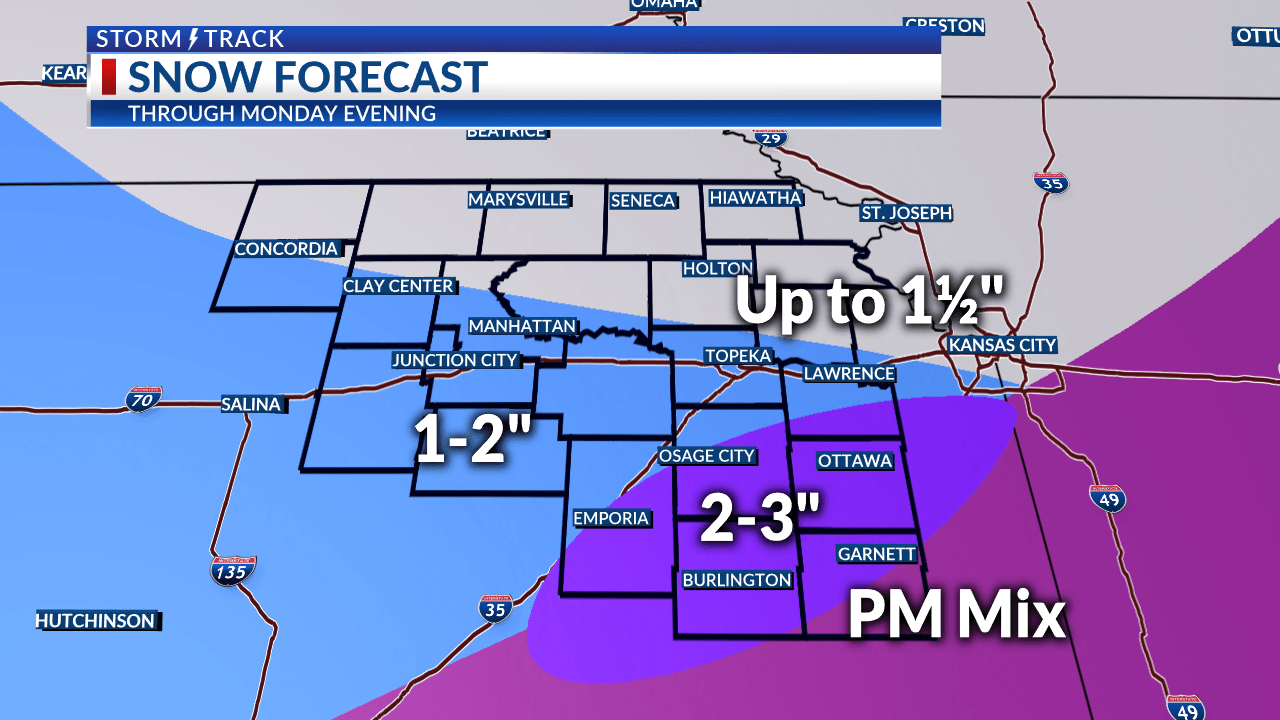 Updated snow forecast for today