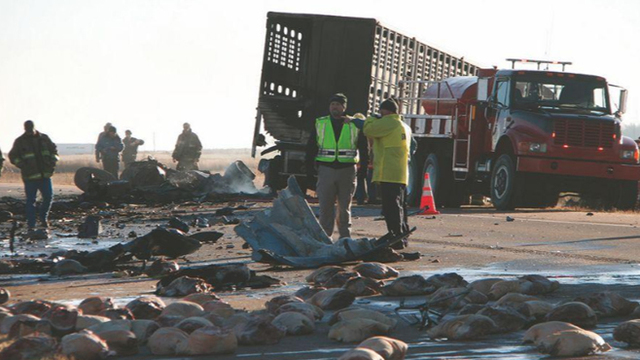 Three dead in SW Kansas after tractor-trailer collision