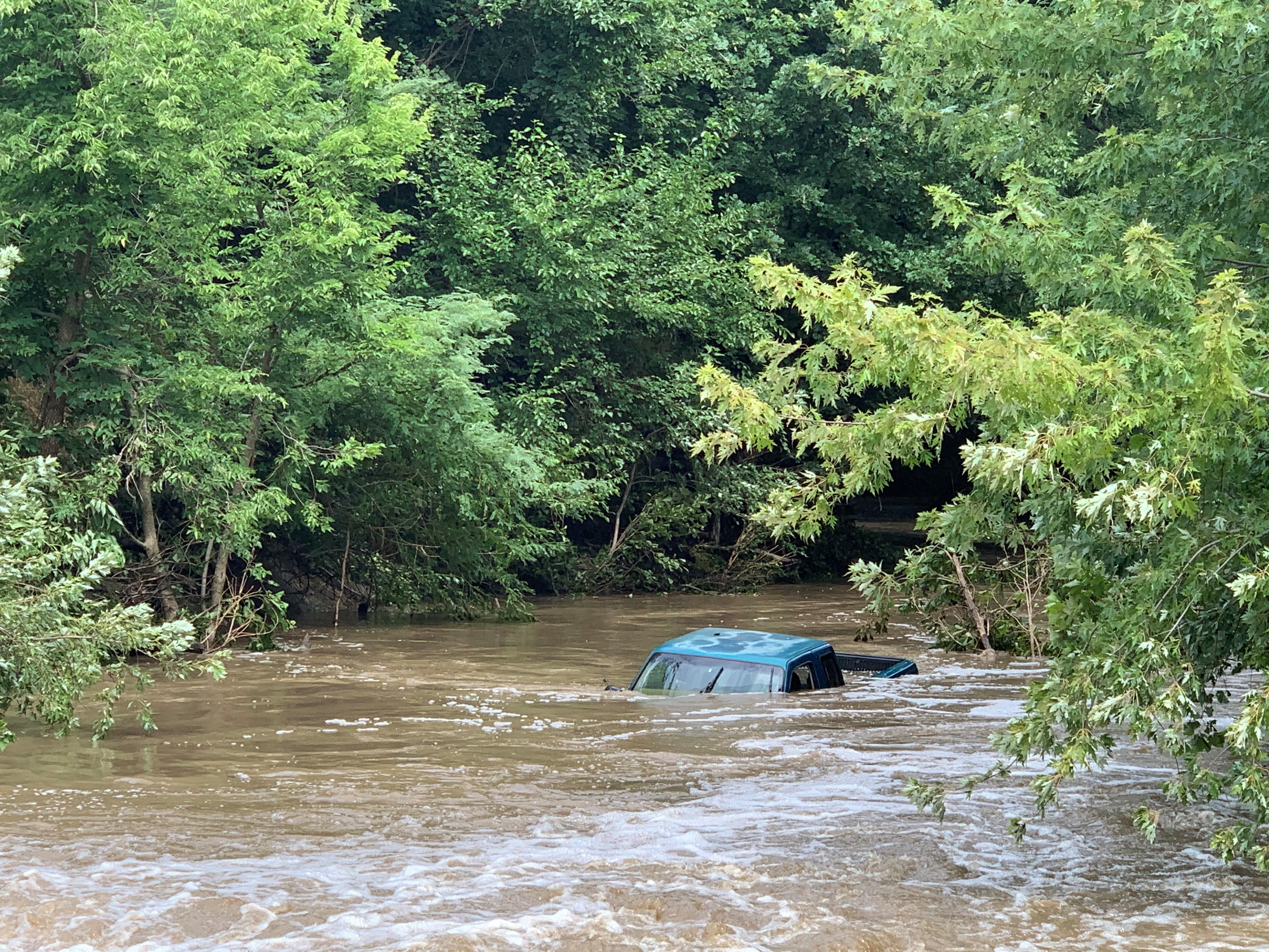 Truck submerged under water in Jefferson County