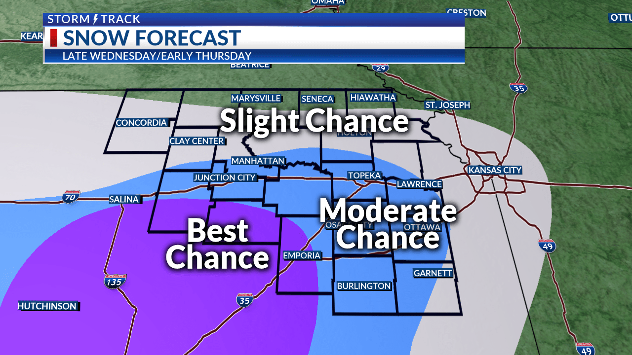 Clear weather to start the week before a midweek snow chance