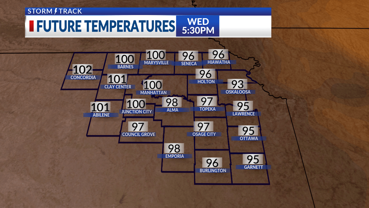 Lots of sunshine in the area today with heat index values in the triple digits
