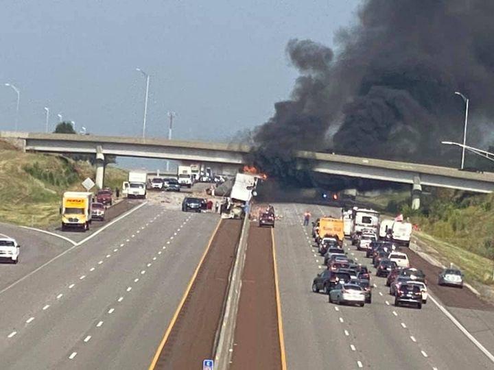 Major crash hospitalizes 7, shuts down I-70 & burns bridge near Topeka Service Area