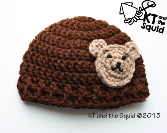 Free Bear applique hat crochet pattern