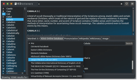 Kdictionary a powerful Free English dictionary and thesaurus for Linux/Ubuntu